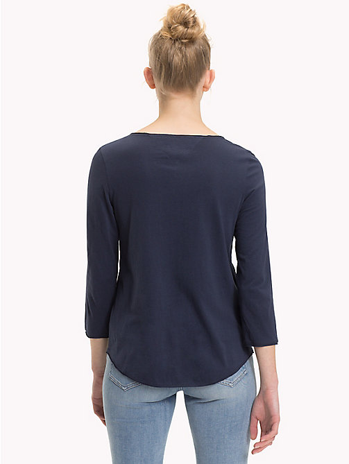 TOMMY JEANS Scoop Neck Organic Cotton Top - BLACK IRIS - TOMMY JEANS Sustainable Evolution - detail image 1