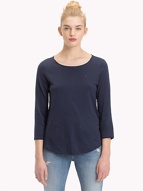 TOMMY JEANS Scoop Neck Organic Cotton Top - BLACK IRIS - TOMMY JEANS Sustainable Evolution - main image