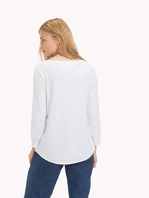 TOMMY JEANS Scoop Neck Organic Cotton Top - BRIGHT WHITE - TOMMY JEANS Sustainable Evolution - detail image 1