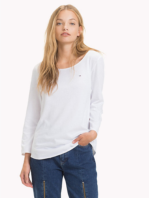 TOMMY JEANS Scoop Neck Organic Cotton Top - BRIGHT WHITE - TOMMY JEANS Sustainable Evolution - main image