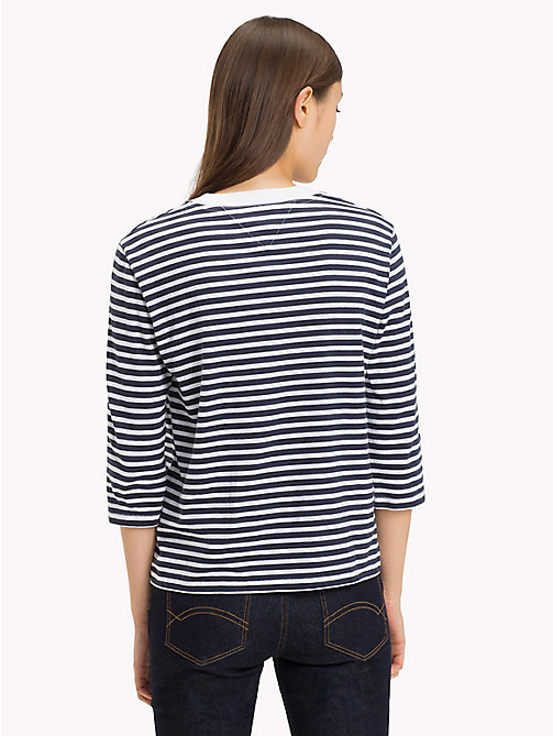 TOMMY JEANS Stripe Print Cotton Top - BLACK IRIS / BRIGHT WHITE - TOMMY JEANS Tops - detail image 1