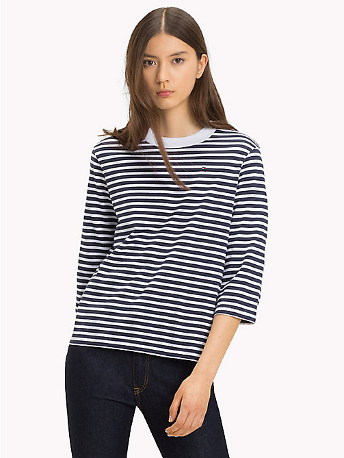 TOMMY JEANS Stripe Print Cotton Top - BLACK IRIS / BRIGHT WHITE - TOMMY JEANS Tops - main image