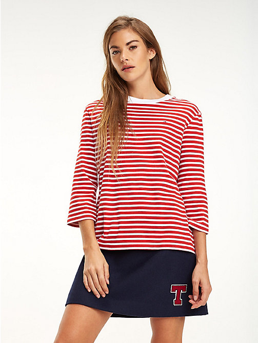 TOMMY JEANS Stripe Print Cotton Top - SAMBA / BRIGHT WHITE - TOMMY JEANS Tops - main image