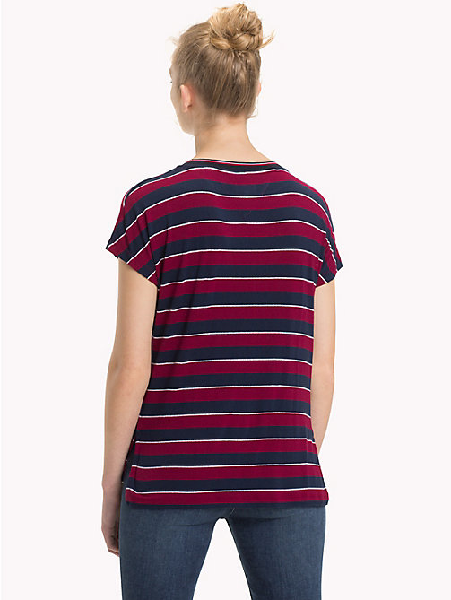 TOMMY JEANS All-Over Stripe Top - RUMBA RED / BLACK IRIS - TOMMY JEANS Tops - detail image 1