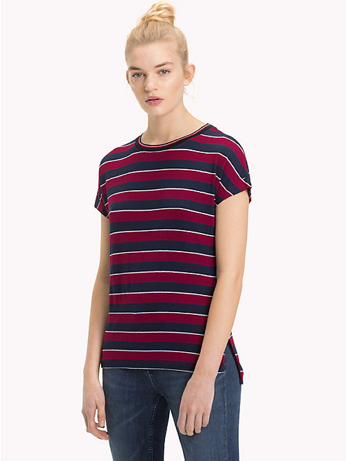 TOMMY JEANS All-Over Stripe Top - RUMBA RED / BLACK IRIS - TOMMY JEANS Tops - main image