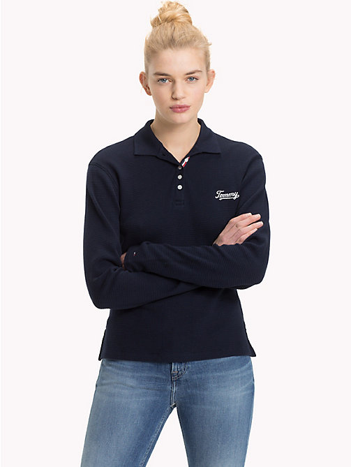 TOMMY JEANS Long Sleeve Textured Polo - BLACK IRIS - TOMMY JEANS Tops - main image