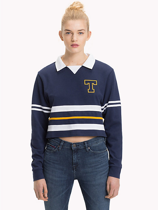 TOMMY JEANS Rugby Polo Shirt - BLACK IRIS MULTI - TOMMY JEANS Tops - main image