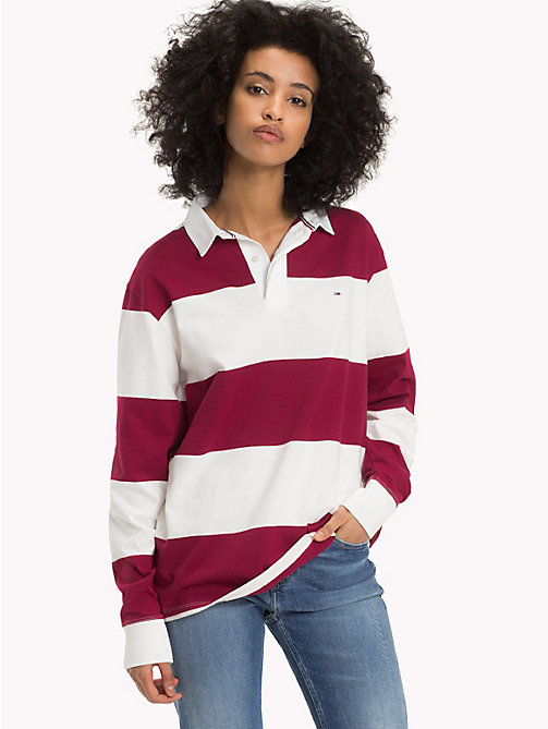 TOMMY JEANS Tommy Classics Rugby Shirt - RUMBA RED / BRIGHT WHITE - TOMMY JEANS Tops - main image