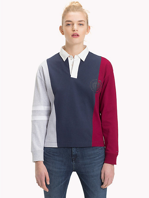 TOMMY JEANS Colour-Blocked Polo Shirt - BLACK IRIS / MULTI - TOMMY JEANS Tops - main image