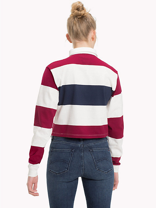 TOMMY JEANS Cropped Rugby Shirt - RUMBA RED/MULTI - TOMMY JEANS Tops - detail image 1