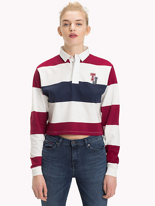 TOMMY JEANS Cropped Rugby Shirt - RUMBA RED/MULTI - TOMMY JEANS Tops - main image