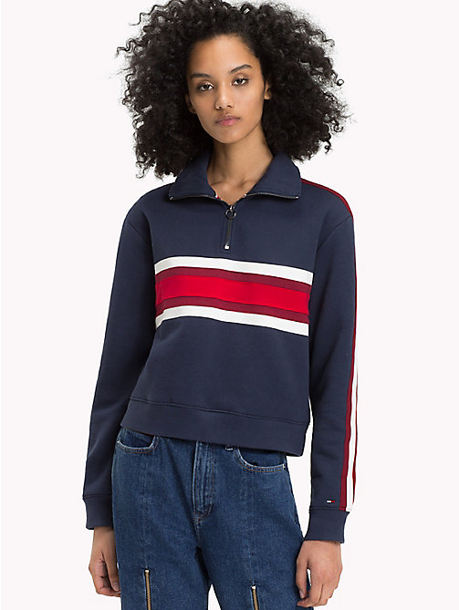 TOMMY JEANS Colour-blocked sweatshirt met rits - BLACK IRIS / MULTI - TOMMY JEANS TOMMY JEANS DAMES - main image
