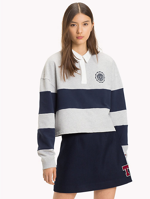 TOMMY JEANS Polo de rugby coupe courte - PALE GREY HEATHER / BLACK IRIS - TOMMY JEANS Sweats - image principale