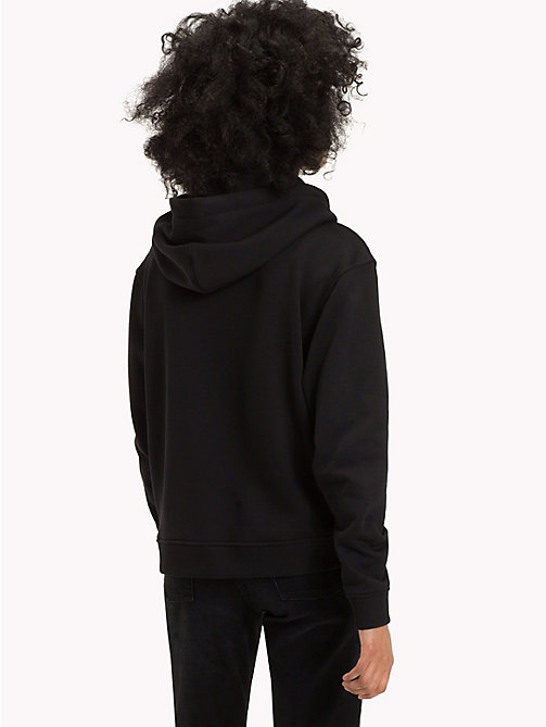 TOMMY JEANS Logo Fleece Hoody - TOMMY BLACK - TOMMY JEANS Clothing - detail image 1