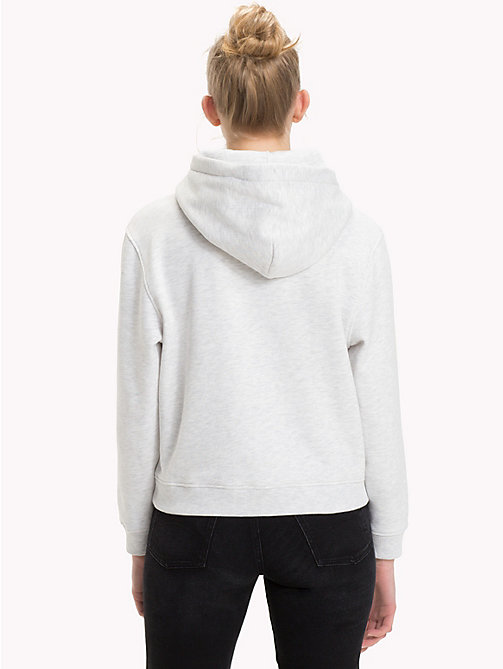 TOMMY JEANS Fleece-Hoodie mit Logo - PALE GREY HEATHER - TOMMY JEANS Sweatshirts & Kapuzenpullover - main image 1