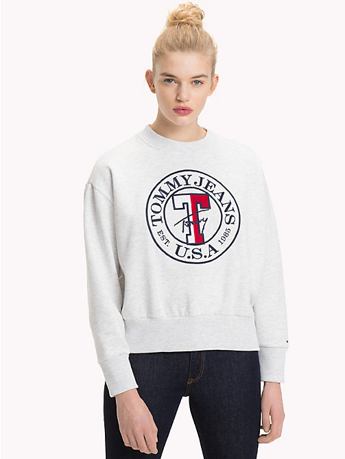 TOMMY JEANS Circle Logo Sweatshirt - PALE GREY HEATHER - TOMMY JEANS TOMMY JEANS WOMEN - main image