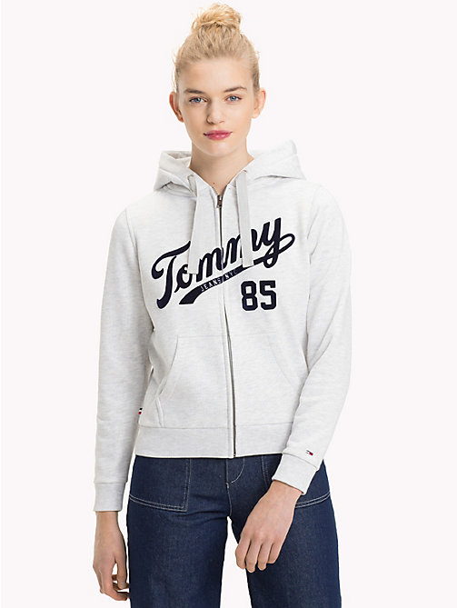 TOMMY JEANS Logo Zip-Thru Hoody - PALE GREY HEATHER - TOMMY JEANS Clothing - main image