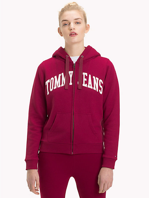 TOMMY JEANS Logo Zip-Thru Hoody - RUMBA RED - TOMMY JEANS Clothing - main image