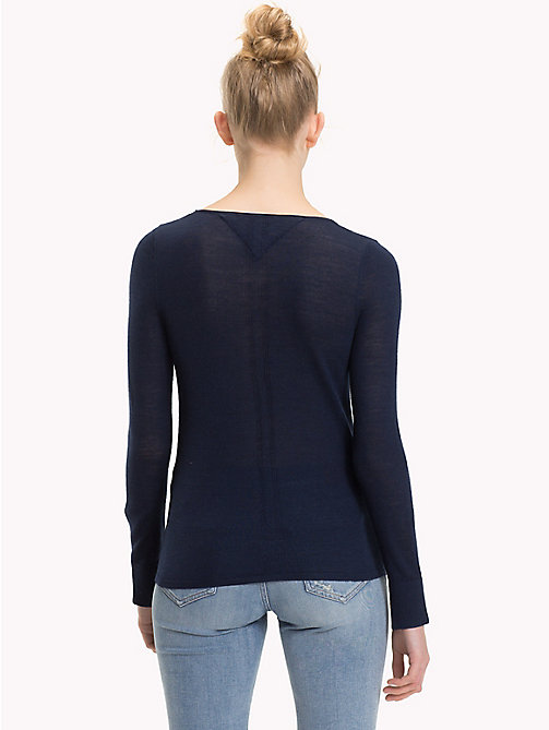 TOMMY JEANS Crew Neck Wool Jumper - BLACK IRIS - TOMMY JEANS Knitwear - detail image 1