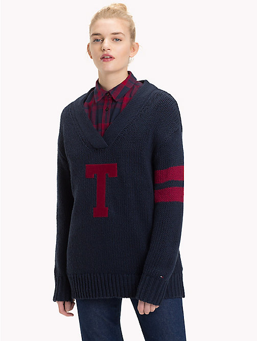 TOMMY JEANS Oversized Monogram Jumper - BLACK IRIS - TOMMY JEANS Knitwear - main image