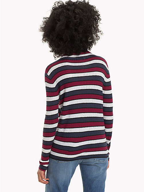 TOMMY JEANS Multi-Colour Stripe Rib-Knit Jumper - BLACK IRIS / MULTI - TOMMY JEANS Knitwear - detail image 1
