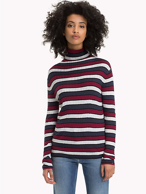 TOMMY JEANS Multi-Colour Stripe Rib-Knit Jumper - BLACK IRIS / MULTI - TOMMY JEANS Knitwear - main image