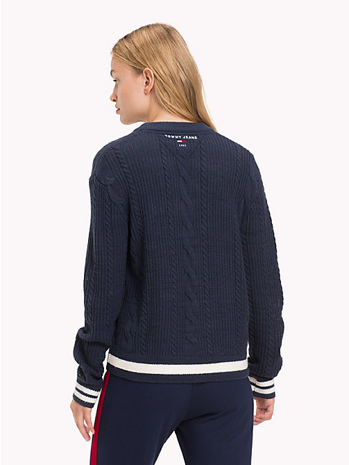 TOMMY JEANS Cable Knit Jumper - BLACK IRIS - TOMMY JEANS Knitwear - detail image 1