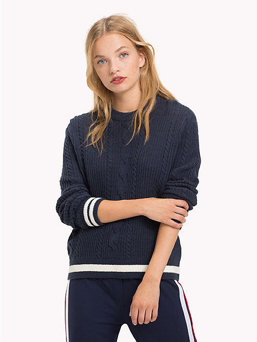 TOMMY JEANS Cable Knit Jumper - BLACK IRIS - TOMMY JEANS Knitwear - main image