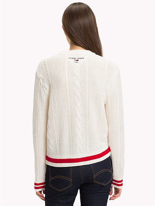 TOMMY JEANS Cable Knit Jumper - CLOUD DANCER - TOMMY JEANS Knitwear - detail image 1