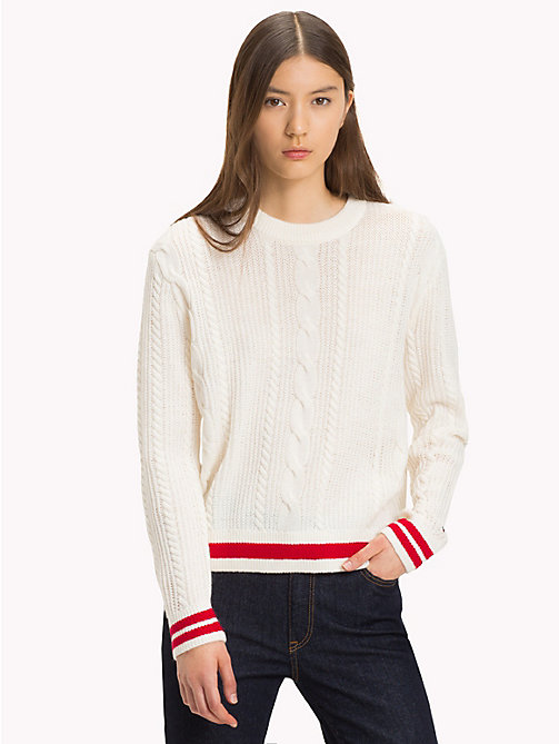 TOMMY JEANS Cable Knit Jumper - CLOUD DANCER - TOMMY JEANS Knitwear - main image