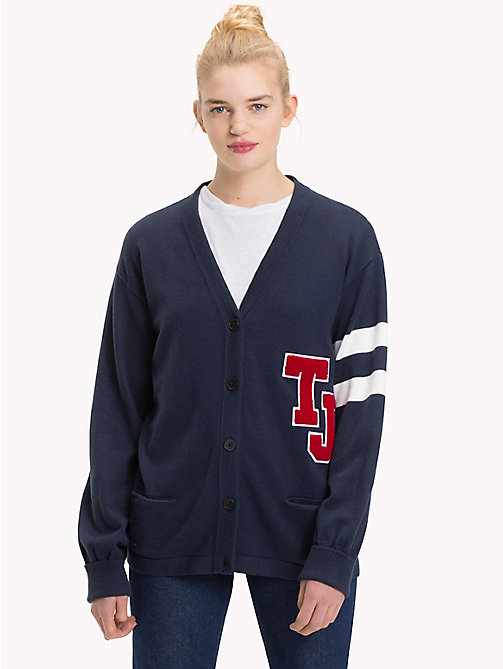 TOMMY JEANS Monogram V-Neck Cardigan - BLACK IRIS - TOMMY JEANS Knitwear - main image