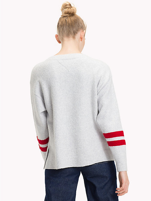 TOMMY JEANS Oversized Boat Neck Jumper - PALE GREY HEATHER - TOMMY JEANS Knitwear - detail image 1