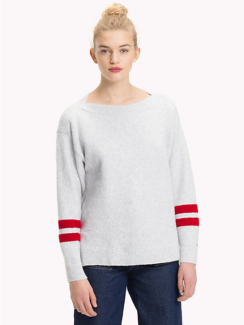 TOMMY JEANS Oversized Boat Neck Jumper - PALE GREY HEATHER - TOMMY JEANS Knitwear - main image