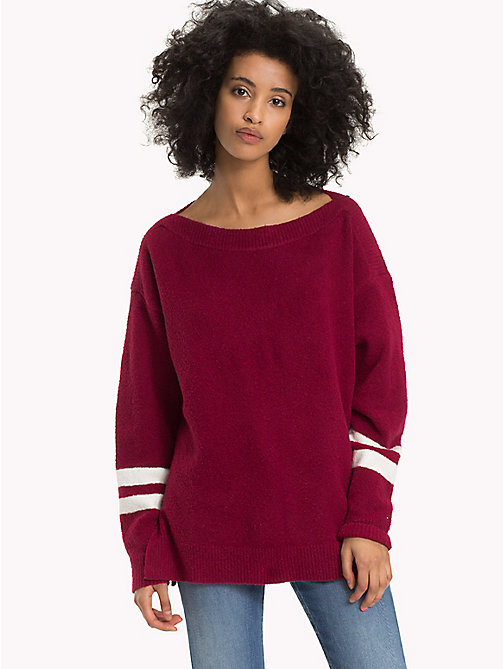 TOMMY JEANS Oversized Boat Neck Jumper - RUMBA RED - TOMMY JEANS Knitwear - main image