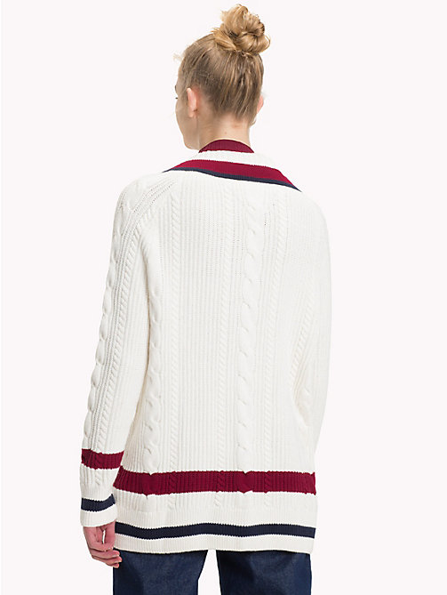 TOMMY JEANS Colour-Blocked Cable Neck Jumper - CLOUD DANCER / MULTI - TOMMY JEANS Knitwear - detail image 1