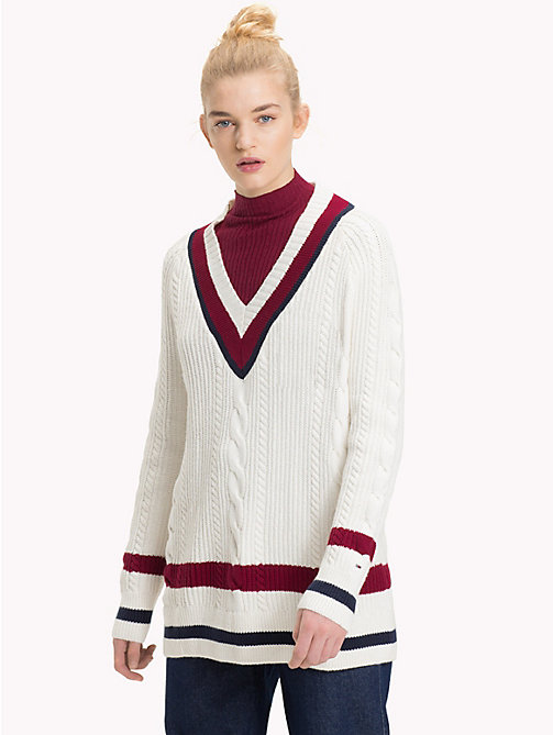 TOMMY JEANS Colour-Blocked Cable Neck Jumper - CLOUD DANCER / MULTI - TOMMY JEANS Knitwear - main image