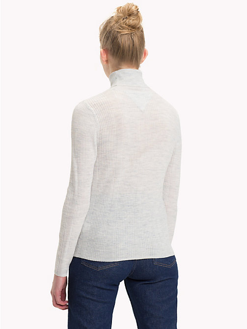 TOMMY JEANS Pure Wool Turtleneck Jumper - PALE GREY HEATHER - TOMMY JEANS Sweatshirts & Knitwear - detail image 1