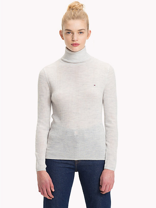 TOMMY JEANS Pure Wool Turtleneck Jumper - PALE GREY HEATHER - TOMMY JEANS Knitwear - main image