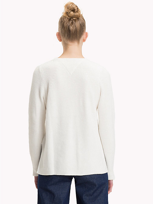 TOMMY JEANS Cuff Slit Signature Tape Jumper - CLOUD DANCER - TOMMY JEANS Knitwear - detail image 1