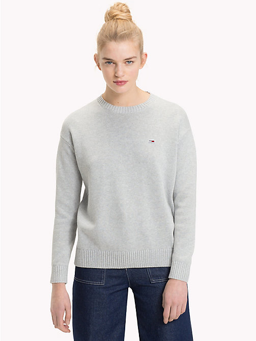 TOMMY JEANS Pullover girocollo in cotone Tommy Classics - LT GREY HTR - TOMMY JEANS Maglieria - immagine principale