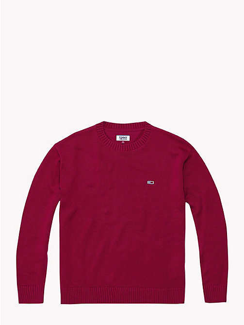 TOMMY JEANS Tommy Classics Cotton Crew Neck Jumper - RUMBA RED - TOMMY JEANS Knitwear - detail image 1