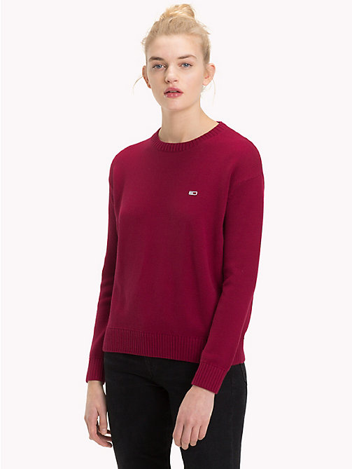 TOMMY JEANS Tommy Classics Cotton Crew Neck Jumper - RUMBA RED - TOMMY JEANS Knitwear - main image