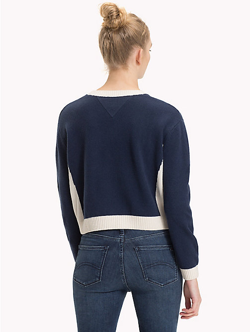 TOMMY JEANS Pullover crop color block - CLOUD DANCER / BLACK IRIS - TOMMY JEANS Maglieria - dettaglio immagine 1