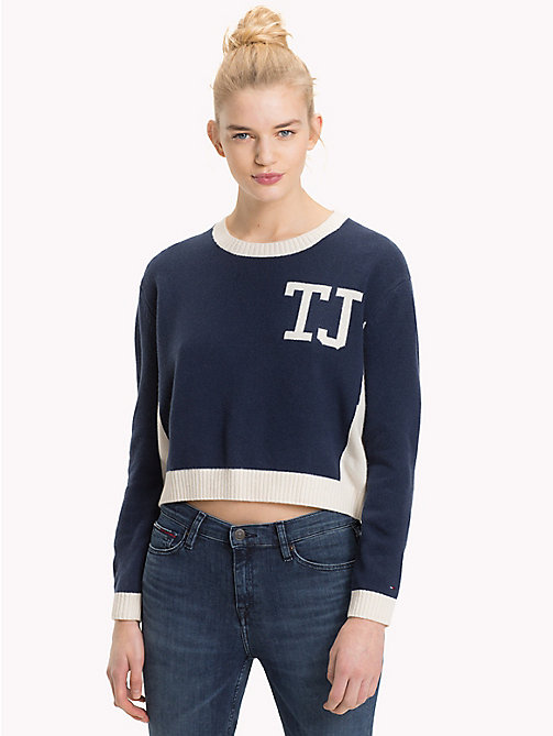 TOMMY JEANS Cropped Colour-Blocked Jumper - CLOUD DANCER / BLACK IRIS - TOMMY JEANS Knitwear - main image