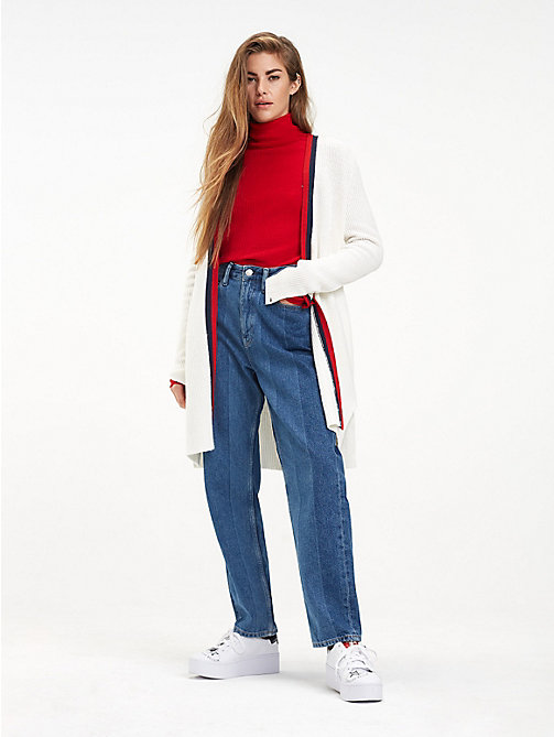 TOMMY JEANS Signature Tape Cotton Blend Cardigan - CLOUD DANCER - TOMMY JEANS Knitwear - main image