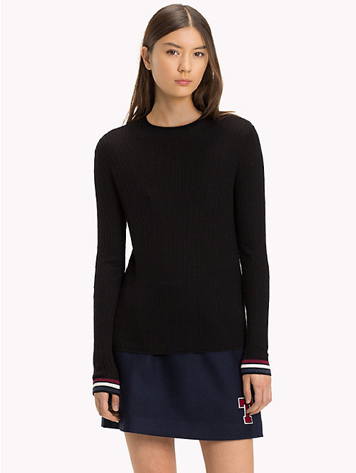 TOMMY JEANS Cable Knit Crew Neck Jumper - TOMMY BLACK - TOMMY JEANS Knitwear - main image