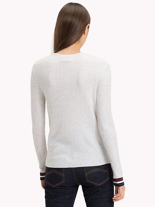 TOMMY JEANS Cable Knit Crew Neck Jumper - PALE GREY HEATHER - TOMMY JEANS Knitwear - detail image 1