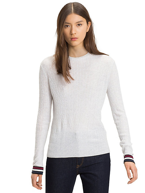 TOMMY JEANS Cable Knit Crew Neck Jumper - PALE GREY HEATHER - TOMMY JEANS Knitwear - main image