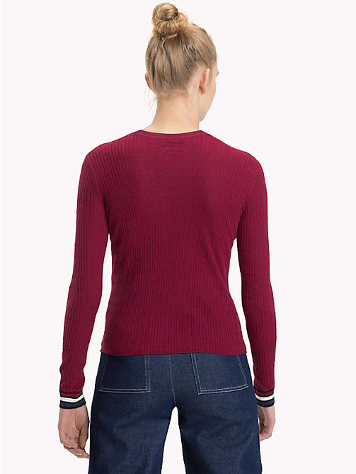 TOMMY JEANS Cable Knit Crew Neck Jumper - RUMBA RED - TOMMY JEANS Knitwear - detail image 1