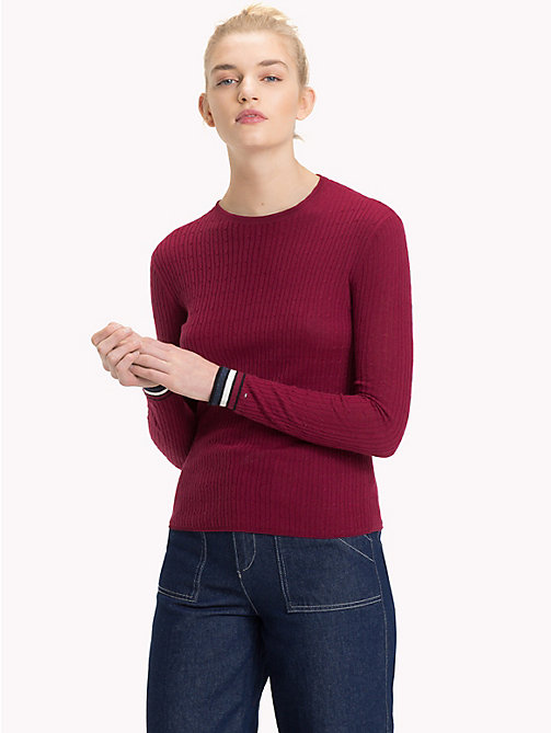 TOMMY JEANS Cable Knit Crew Neck Jumper - RUMBA RED - TOMMY JEANS Knitwear - main image